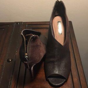 Halogen suede and leather open toe heels